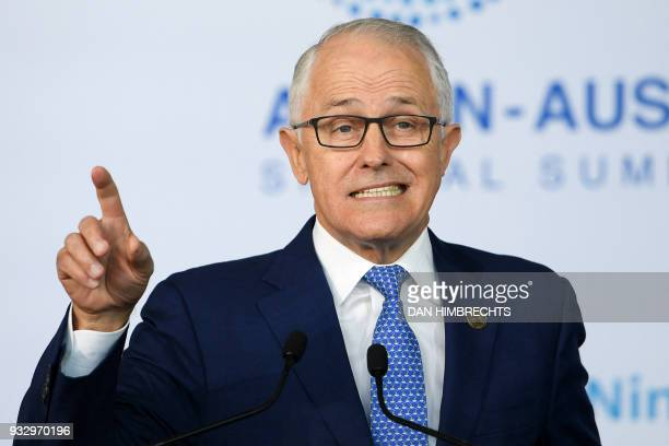 Australian Prime Minister Malcolm Turnbull delivers an address to the New Colombo Plan Reception at the ASEAN Australia special summit being held in...