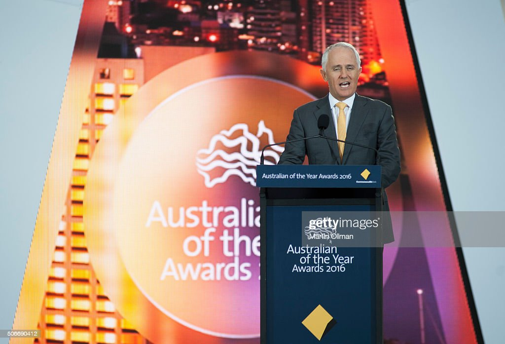 Australian Prime Minister Malcolm Turnbull during the Australian of The Year Awards 2016 at Parliament House on January 25, 2016 in Canberra, Australia.
