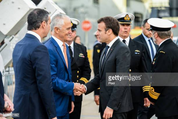 Australian Prime Minister Malcolm Turnbull greets President of France Emmanuel Macron at Garden Island on May 2 2018 In Sydney Australia Macron...