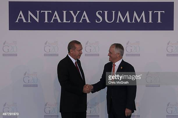 Australian Prime Minister Malcolm Turnbull is greeted by Turkish President Recep Tayyip Erdogan during the official welcome ceremony on day one of...