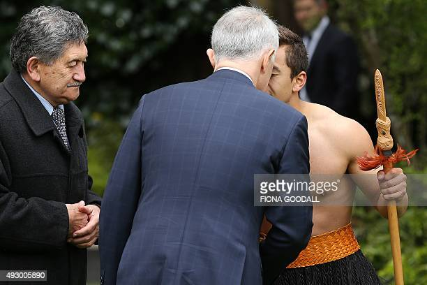 Australian Prime Minister Malcolm Turnbull is welcomed to New Zealand with a 'powhiri' as Kaumatua Lewis Moeau looks on at Government House in...