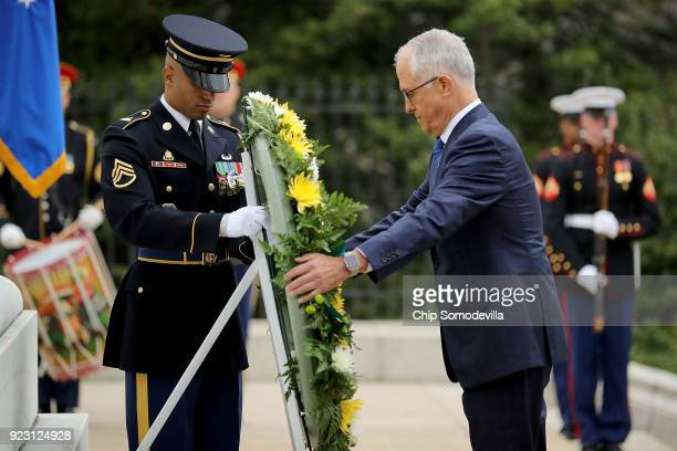 Australian Prime Minister Malcolm Turnbull lays a wreath at the Tomb of the Unknowns during a ceremony at Arlington National Cemetery February 22...