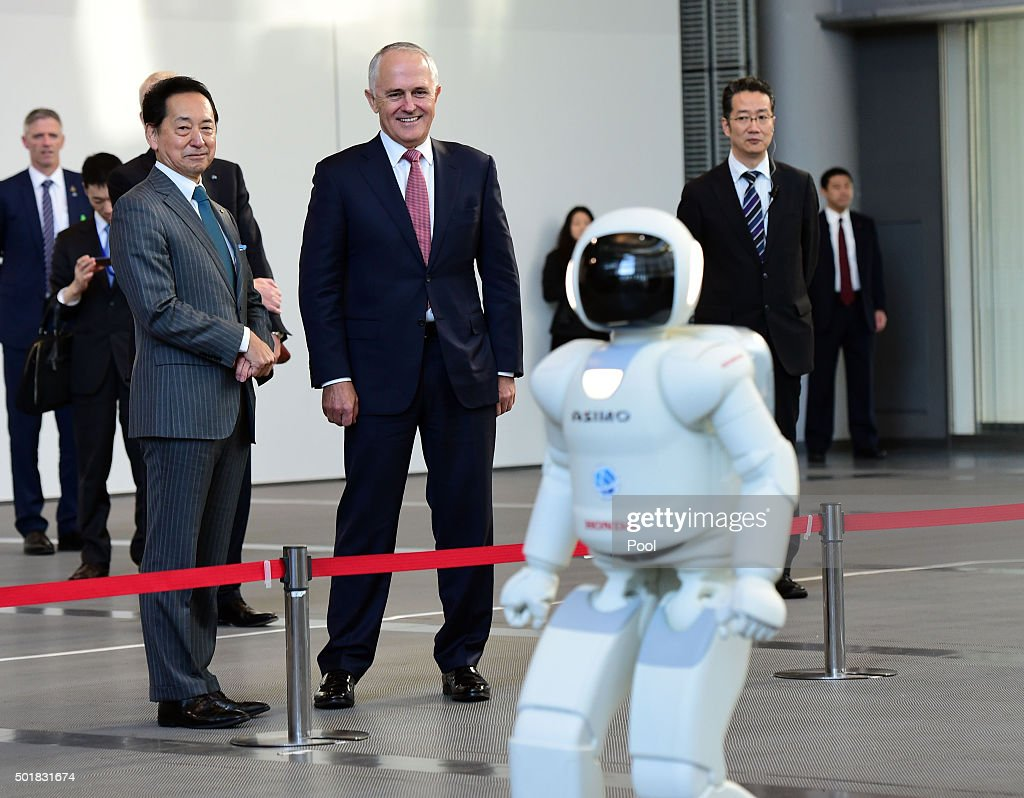 Australian Prime Minister Malcolm Turnbull meets the robot Asimo at the National Museum of Emerging Science and Innovation on December 18, 2015 in Tokyo, Japan. Prime Minister Turnbull is on one-day itinerary for his first visit to Tokyo to discuss topics including whaling in the southern oceans and submarine contract, and broader political, strategic and economic issues.