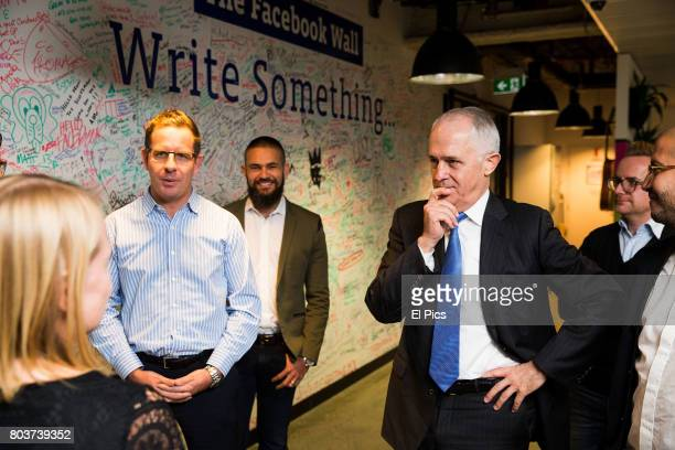 Australian Prime Minister Malcolm Turnbull meets with Facebook staff on June 30 2017 in Sydney Australia Captioning company AiMedia has partnered...