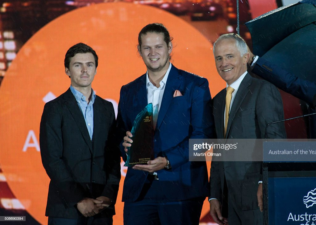 Australian Prime Minister Malcolm Turnbull poses with 2016 Young Australian of the Year Nic Marchesi & Lucas Patchett during the Australian of The Year Awards 2016 at Parliament House on January 25, 2016 in Canberra, Australia.