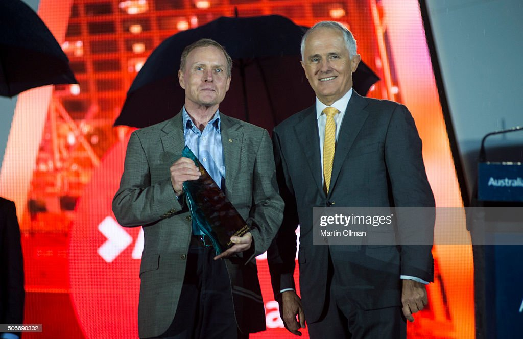 Australian Prime Minister Malcolm Turnbull poses with the 2016 Australian of the Year David Morrison AO during the Australian of The Year Awards 2016 at Parliament House on January 25, 2016 in Canberra, Australia.