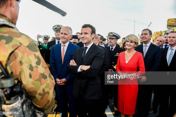 Australian Prime Minister Malcolm Turnbull President of France Emmanuel Macron and Julie Bishop Australian Minister for Foreign Affairs meet with...