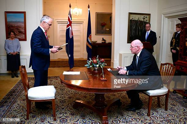 Australian Prime Minister Malcolm Turnbull stands during the swearing-in ceremony at Government House on July 19, 2016 in Canberra, Australia....