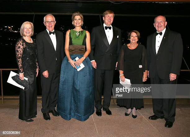 Australian Prime Minister Malcolm Turnbull stands with his wife Lucy , King Willem-Alexander of the Netherlands and his wife Queen Maxima , Governor...