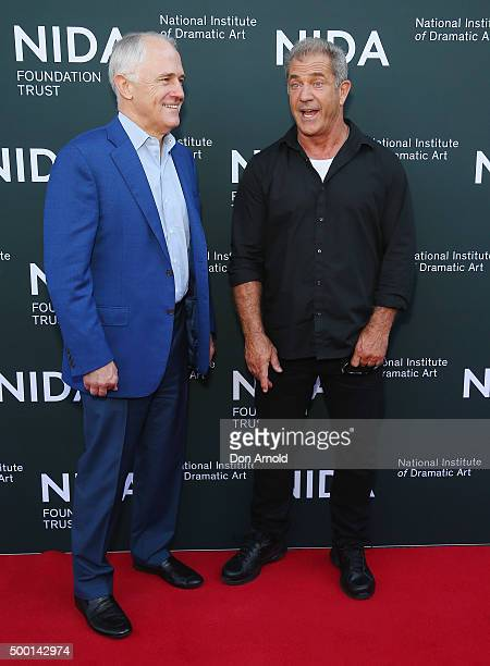 Australian Prime Minister Malcolm Turnbull talks with Mel Gibson ahead of The National Institute of Dramatic Art's new graduate school launch at NIDA...