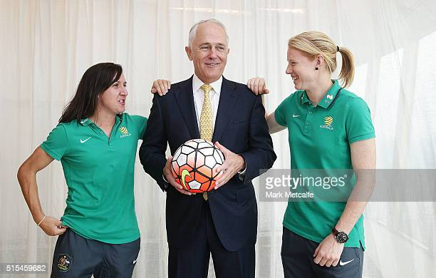 Australian Prime Minister Malcolm Turnbull Tunbull poses with Matildas cocaptains Lisa De Vanna and Clare Polkinghorne during a welcome home function...