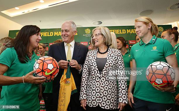 Australian Prime Minister Malcolm Turnbull Tunbull talks to Matildas cocaptains Lisa De Vanna and Clare Polkinghorne with his wife Lucy Turnbull...