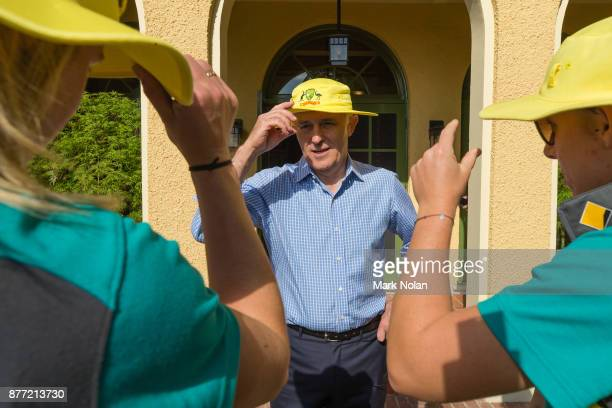 Australian Prime Minister Malcom farewells members of the Southern Stars during an Australian Women's cricket team meet and greet with the Australian...