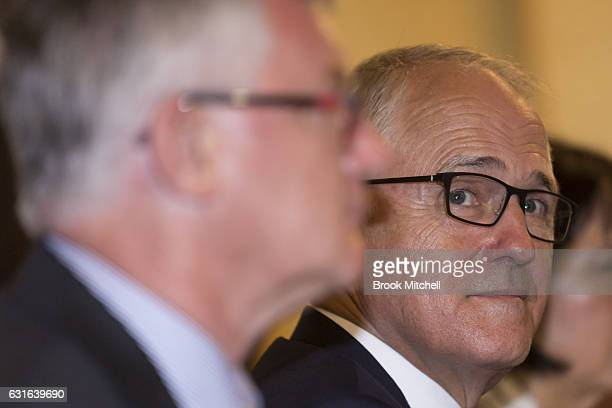 Australian Prime Minister Malcom Turnbull at a bilateral meeting at Kirribilli House with the Japanese delegation on January 14 2017 in Sydney...