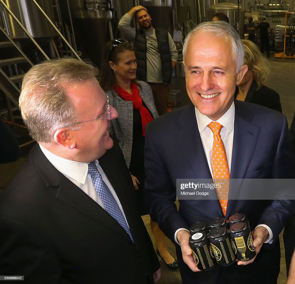 Australian Prime Minister Malcom Turnbull inspects local beer with The Hon. Bruce Billson MP, Federal Member for Dunkley (L) at a Brewery in Mornington on May 12, 2016 in Melbourne, Australia. The Prime Minister has been named in the Panama Papers as a former director of British Virgin Islands company Star Technology Services Limited, which was set up and administered by the law firm Mossack Fonseca in the 1990s. Mr Turnbull resigned from the company in 1995.