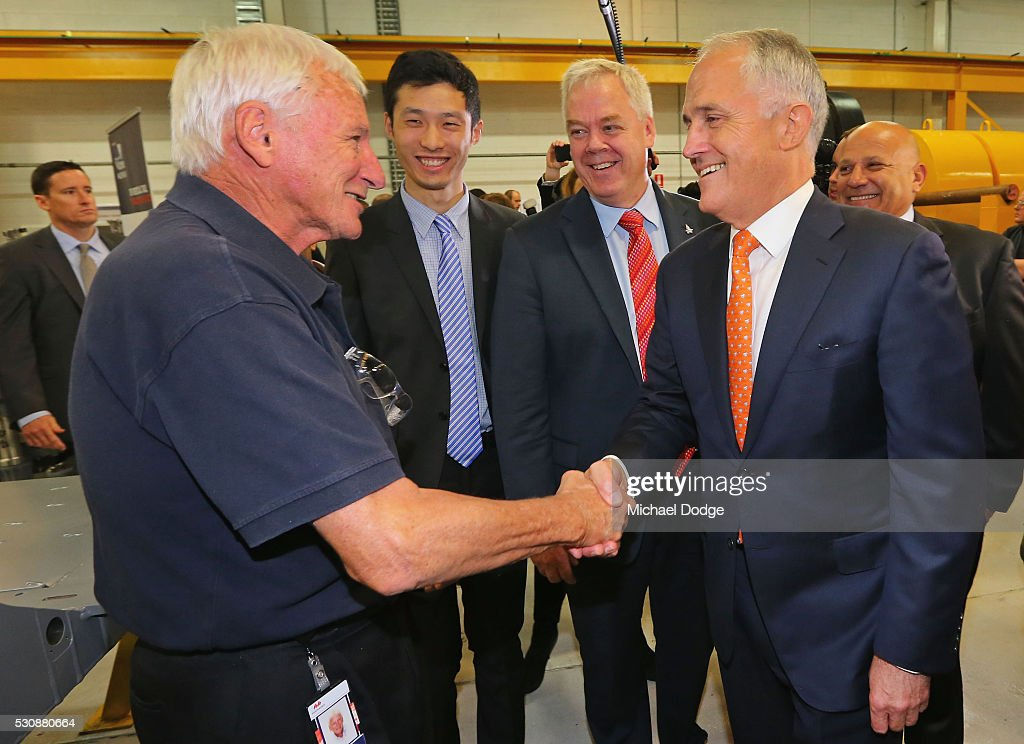 Australian Prime Minister Malcom Turnbull meet a long time employee from an Engineering Company in Moorabbin on May 12, 2016 in Melbourne, Australia. The Prime Minister has been named in the Panama Papers as a former director of British Virgin Islands company Star Technology Services Limited, which was set up and administered by the law firm Mossack Fonseca in the 1990s. Mr Turnbull resigned from the company in 1995.