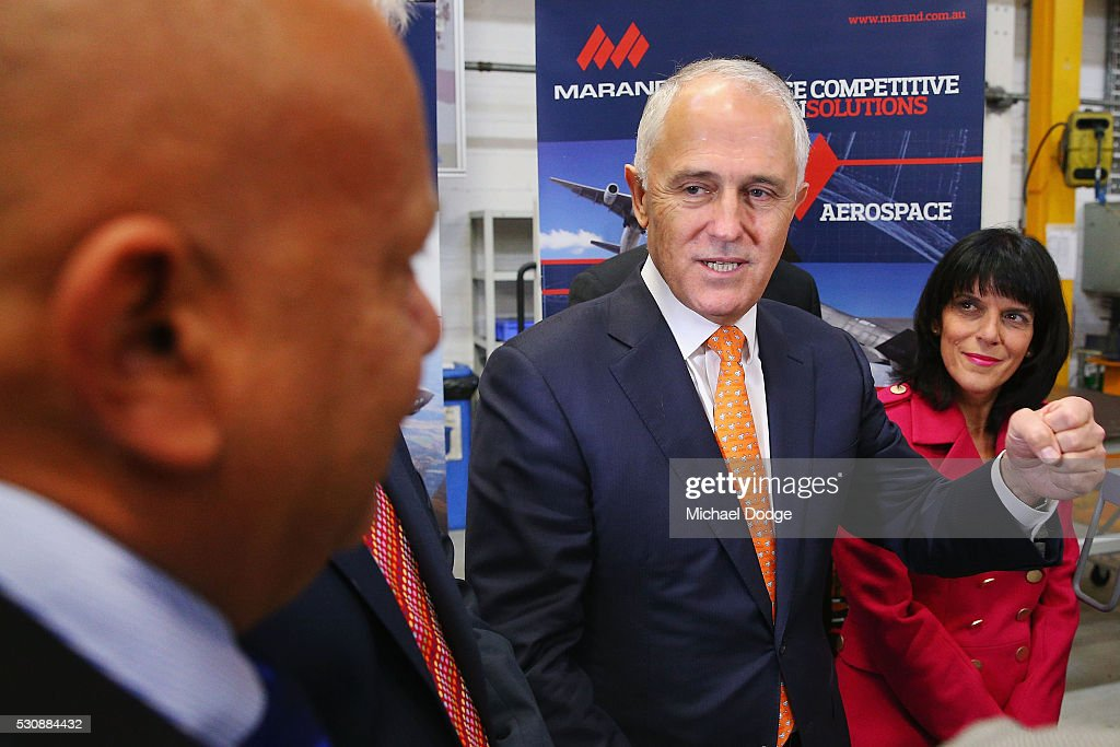 Australian Prime Minister Malcom Turnbull meets employees from an Engineering Company in Moorabbin on May 12, 2016 in Melbourne, Australia. The Prime Minister has been named in the Panama Papers as a former director of British Virgin Islands company Star Technology Services Limited, which was set up and administered by the law firm Mossack Fonseca in the 1990s. Mr Turnbull resigned from the company in 1995.