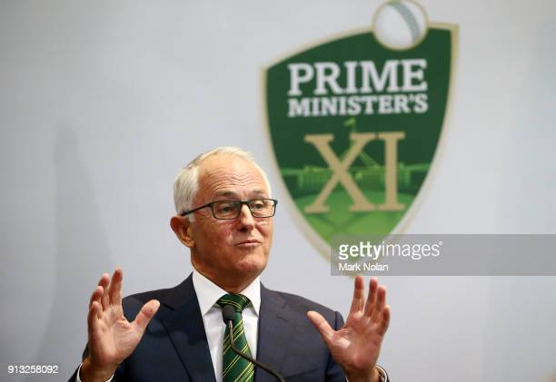 Australian Prime Minister Malcom Turnbull speaks before the One Day Tour Match between the Prime Minister's XI and England at Manuka Oval on February...