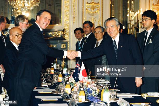 Australian Prime Minister Paul Keating and Japanese Prime Minister Tomiichi Murayama shake hands prior to their meeting at the Akasaka State Guest...