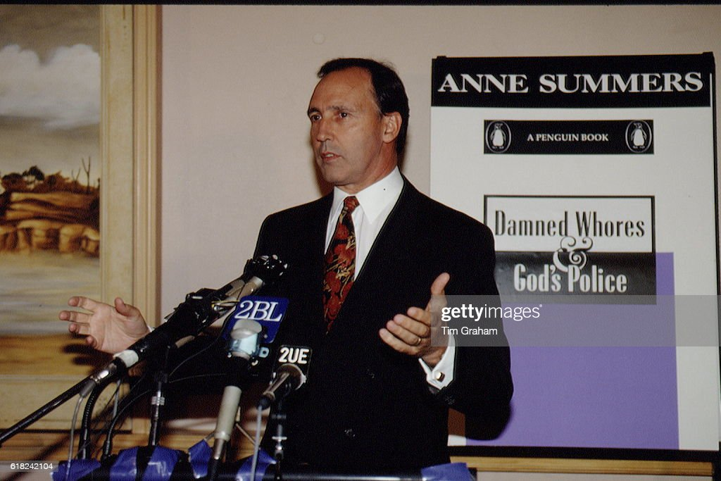 Australian Prime Minister Paul Keating at a press conference.