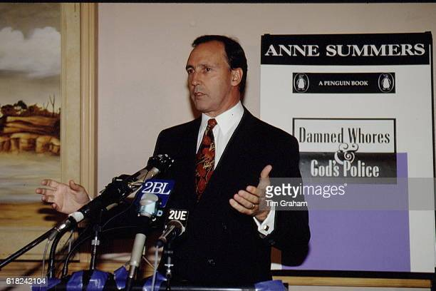 Australian Prime Minister Paul Keating at a press conference