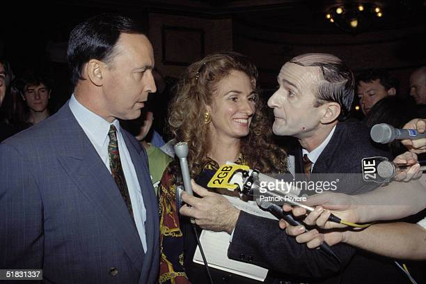 Australian Prime Minister Paul Keating wife Annita Keating speak to Comedian Norman Gunston at the Arts For Labor fundraiser February 1993 in Sydney...