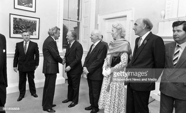 Australian Prime Minister Robert Hawke and Taoiseach Charles Haughey meeting party leaders in Dail Eireann Dick Spring Alan Dukes Dessie O'Malley and...