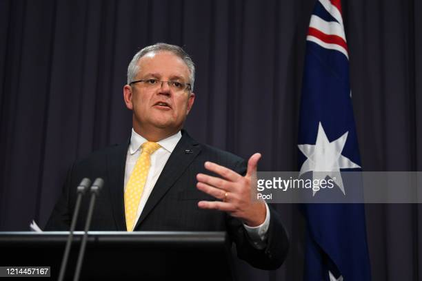Australian Prime Minister Scott Morrison addresses the media and the nation during a press conference at Parliament House on March 24, 2020 in...