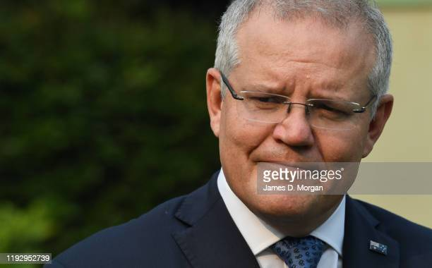 Australian Prime Minister Scott Morrison addressing media at Kirribilli House on December 10 2019 in Sydney Australia Three Australians are feared...
