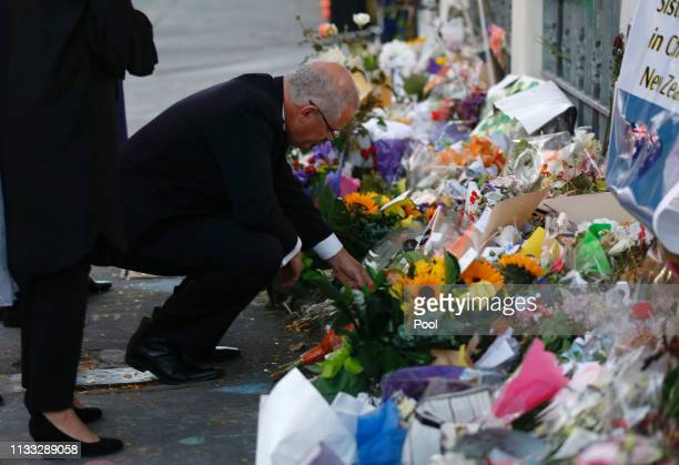 Australian Prime Minister Scott Morrison and his wife Jenny Morrison pay tribute outside the AlNoor Mosque on March 29 2019 in Christchurch New...