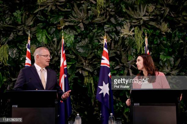 Australian Prime Minister Scott Morrison and New Zealand Prime Minister Jacinda Ardern hold a joint press conference at Government House on February...