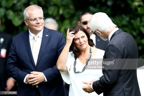 Australian Prime Minister Scott Morrison and wife Jenny Morrison arrive for a welcoming ceremony at Government House on February 22 2019 in Auckland...