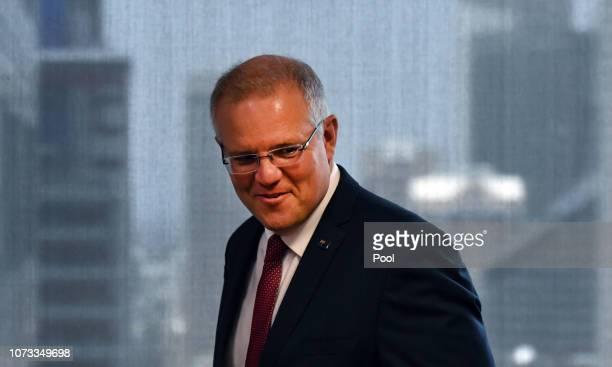 Australian Prime Minister Scott Morrison arrives to speak at the Australian Institute on December 15 2018 in Sydney Australia Morrison announced that...