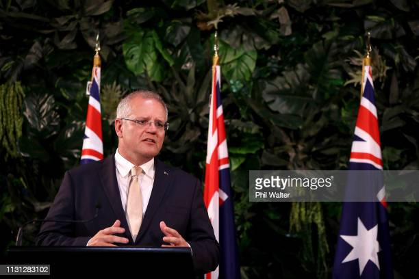 Australian Prime Minister Scott Morrison holds a joint press conference at Government House on February 22 2019 in Auckland New Zealand The...
