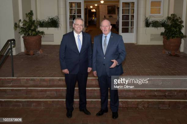 Australian Prime Minister Scott Morrison poses with Australia's Governor-General, Sir Peter Cosgrove after being sworn in by him as Australia's 30th...