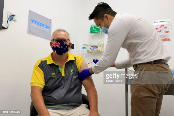Australian Prime Minister Scott Morrison receives a Covid-19 vaccination at Castle Hill Medical Centre on February 21, 2021 in Sydney, Australia. The...