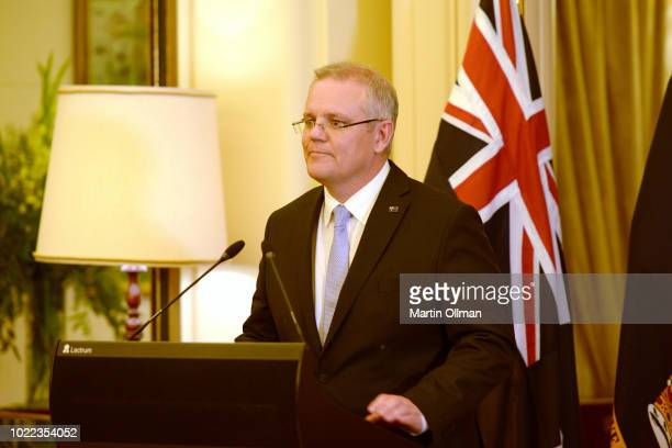 Australian Prime Minister Scott Morrison talks after being sworn in by Australia's GovernorGeneral Sir Peter Cosgrove as Australia's 30th Prime...