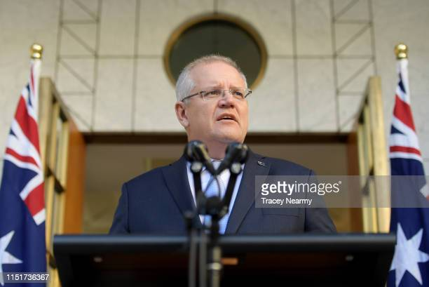 Australian Prime Minister Scott Morrison talks to the media at a press conference announcing his new Cabinet at Parliament House on May 26 2019 in...