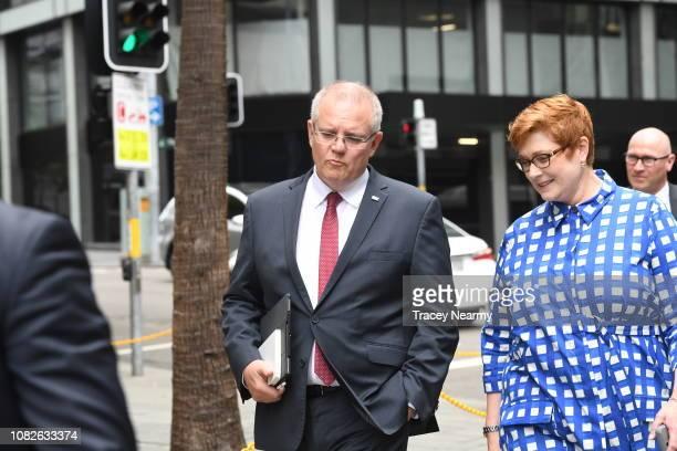 Australian Prime Minister Scott Morrison walks to the Australian Institute on December 15 2018 in Sydney Australia Morrison is expected to announce a...