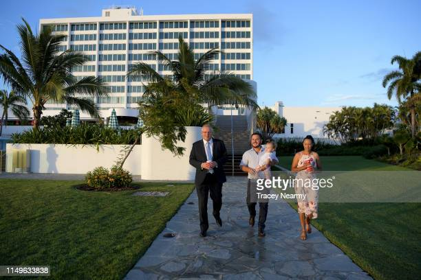 Australian Prime Minister Scott Morrison with Federal Candidate for Herbert Phillip Thompson his wife Jenna Thompson and daughter Aston Thompson have...