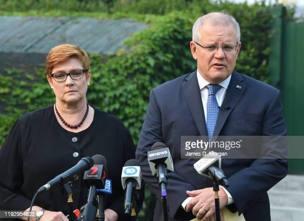 Australian Prime Minister Scott Morrison with Foreign Minister Marise Payne addressing media at Kirribilli House on December 10, 2019 in Sydney,...
