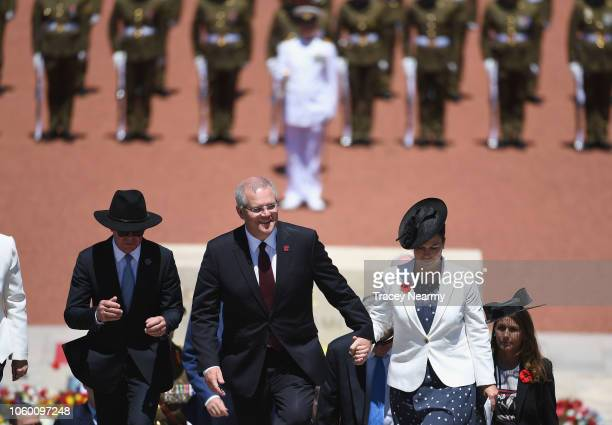 Australian Prime Minister Scott Morrison with his wife Jenny Morrison and Brendan Nelson during the Remembrance Day Service at the Australian War...