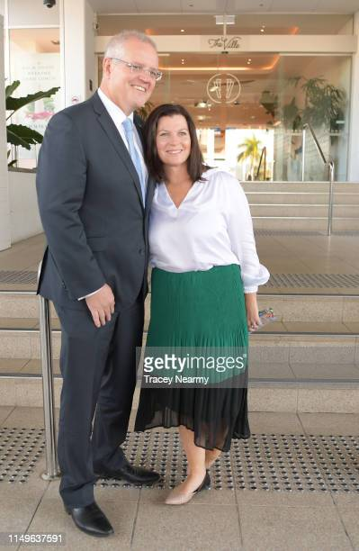 Australian Prime Minister Scott Morrison with his wife Jenny Morrison at the casino the seat of Herbert for federal candidate for the Division of...