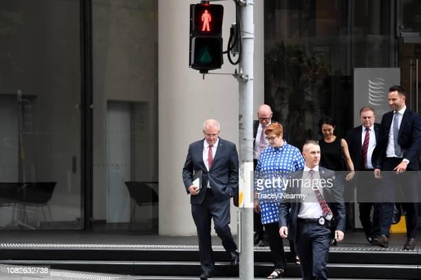 Australian Prime Minister Scott Morrison with Minister for Foreign Affairs Marise Payne arrives at the Australian Institute on December 15 2018 in...