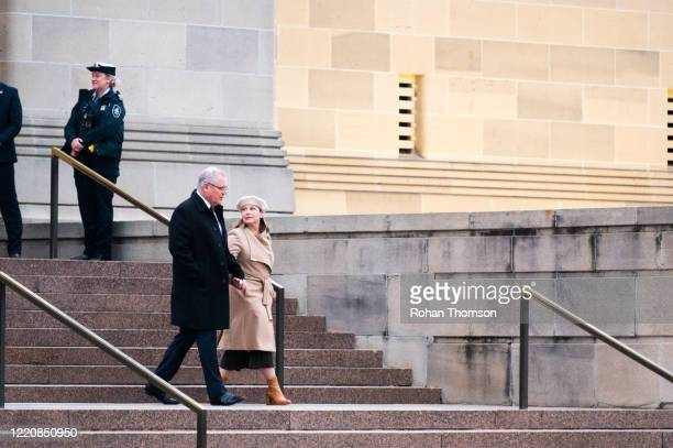 Australian Prime Minister Scott Morrison with wife Jenny Morrison departing the Dawn Service at the Australian War Memorial on April 25 2020 in...