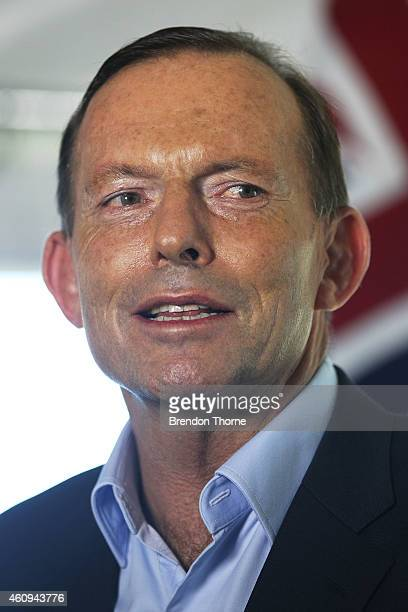 Australian Prime Minister Tony Abbott addresses guests during the Australian and Indian cricket team visit at Kirribilli House on January 1 2015 in...