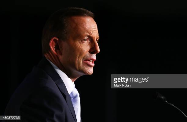 Australian Prime Minister Tony Abbott addresses the Asia Society Australia at the Hotel Realm on March 25, 2014 in Canberra, Australia. The Asia...