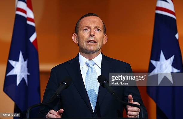 Australian Prime Minister Tony Abbott addresses the media during a press conference at Parliament House on July 18 2014 in Canberra Australia 27...