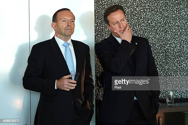 Australian Prime Minister Tony Abbott and British Prime Minister David Cameron attend an infrastructure business breakfast at the Barangaroo Delivery...