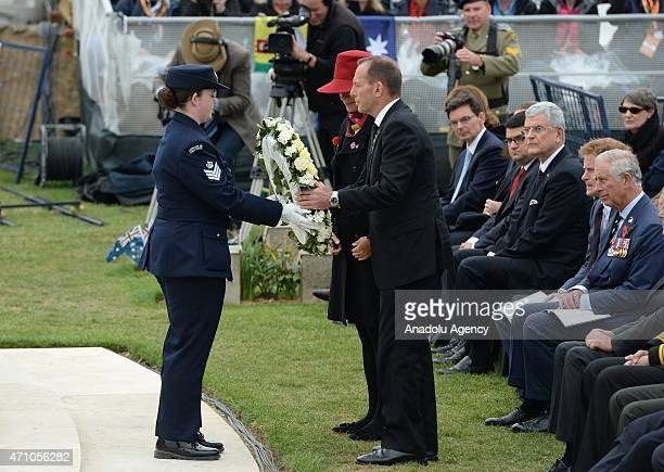 Australian Prime Minister Tony Abbott and his wife Margaret Aitken lay a wreath at the Lone Pine memorial during a memorial service on the occasion...